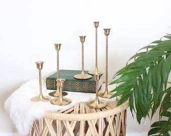 Graduated Brass Tulip Candlesticks Set of 7 Mid Century Modern Wedding Candlesticks Gold
