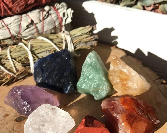 Featured listing image: 7 CHAKRAS Raw Crystals - Red Jasper, Carnelian, Citrine, Green Aventurine, Sodalite, Amethyst, Clear Quartz   Reiki, Healing, Chakra Crystal