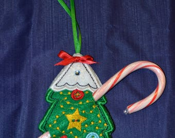 Snow Topped Christmas Tree Candy Cane Holder with Candy Cane