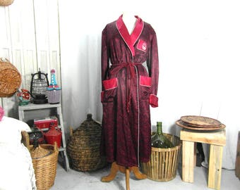 Chinese robe, peignoir house coat, silky dressing gown, red and black, Size M/L, French vintage clothing, retro clothes.