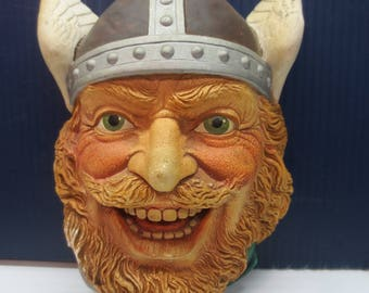 Viking Warrior Legend Products Wall Bust Figurine 1980's Chalkware Vintage