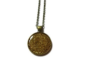 GOLD SPARKLY NECKLACE - Holographic glitter pendant - Golden sparkling jewelry - Glass dome necklace - Gold glitter necklace