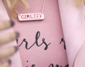Girl Power Necklace - Girl Power Jewellery - Feminist Jewellery - Girl Power - Statement Necklace - Pink Pendant - Gifts for Her - Inspire