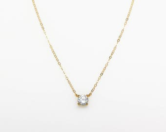 Solitaire CZ Necklace N26 • Delicate CZ Necklace, Tiny Diamond Necklace, Gold CZ Solitaire Necklace, Everyday Necklace, Layering Necklace