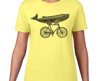 Women's Whale On Bicycle Tshirt, Whale Riding Bike T Shirt, Hipster Animal, Funny Tee, Ringspun Cotton