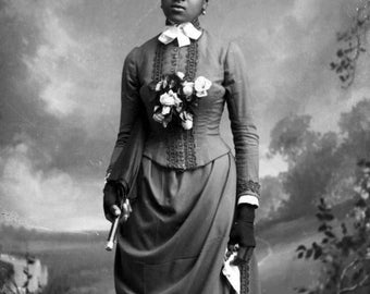 Black Woman Holding Parasol and Hankie Vintage Photo Reprint