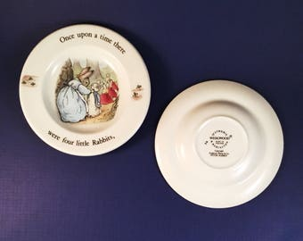 WEDGWOOD PETER RABBIT Child's Miniature Plates Lot of Two (2) Vintage