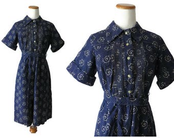 50s Shirtwaist Dress Blue and White 1950s Floral Print Day Dress Belted Size Medium Cotton Retro