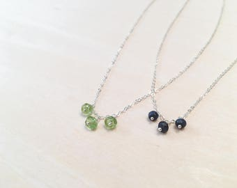 Silver Birthstone Necklace: 925 Sterling Silver Layering Necklace Tiny Petite Gemstone Trio Charm Gift for Her Custom Customizable OOAK