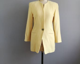 Vintage Karl Largerfeld jacket // lemon yellow coat jacket // largerfeld jacket // vintage designer jacket // yellow wool coat // quality