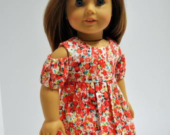 18 Inch Doll Clothes Pink Red Coral Floral Print Open Cold Shoulder Dress made to fit American girl doll clothes