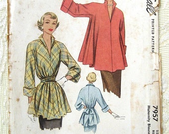 "Vintage 50s Maternity Blouse, Turn up Cuffs. McCall 7957 Sewing Pattern. Size 18,  Bust 28 1/2"" - 30"""