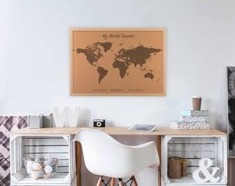 Cork world map, graduation gift for him, Custom Cork board, Cork Map, Push Pin World Map, graduation gift for her, travel gift