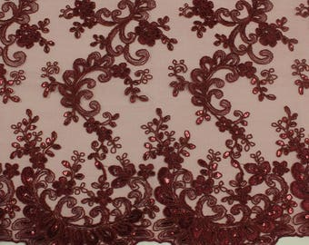 "Burgundy 51"" Czarina Embroidered Flower with Sequins Scalloped Edge on a Mesh Lace Fabric by the Yard - Style 5004"