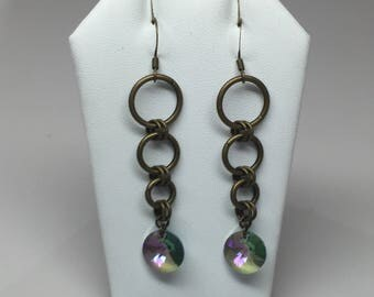 Antique bronze Swarovski crystal chainmaille earrings