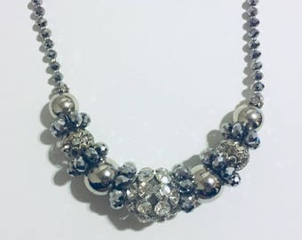 Vintage Thick Flashy Silvertone Crystal Necklace (#2)