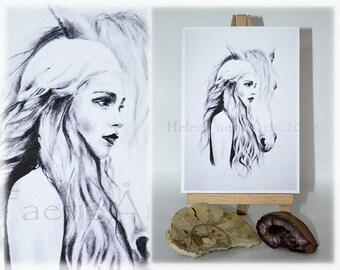 Blank Greeting Card, Game of Thrones Card, GoT Fan Art, Mother of Dragons Card, Art, khaleesi, Game of Thrones Birthday card, Illustration