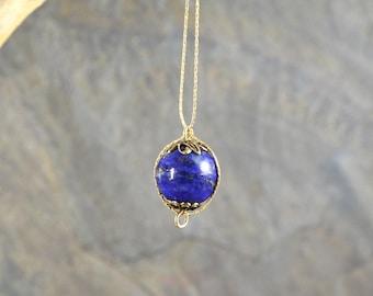 Lapis Lazuli Infinity Orb Chakra necklace 14k Gold Filled September birthstone gemstone pendant globe sphere dainty minimalist snake chain