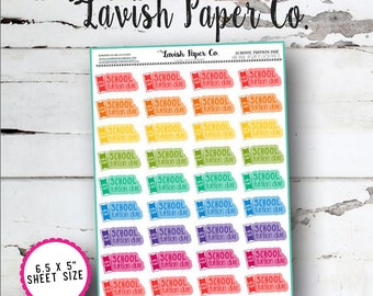 School Tuition Due Planner Stickers by Lavish Paper Co. | Rainbow | for Erin Condren, inkWELL Press, LimeLife, Happy Planner & More!