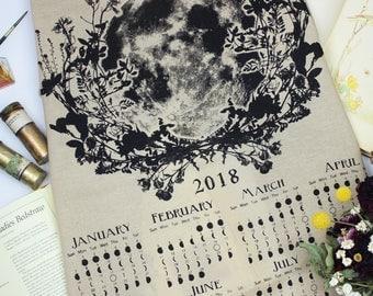 Wheat colored fabric 2018 moon calendar, 2018 moon phase, art calendar, lunar / moon phase print, Luna Calendar, Moon Lunar towel moon art
