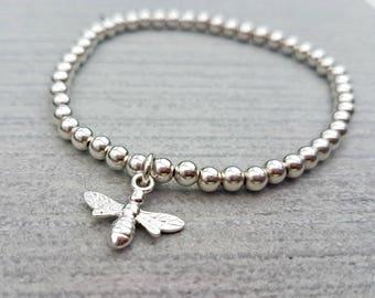 Bumble bee bracelet, bee bracelet, bee charm, stretch bracelet, sterling silver bracelet