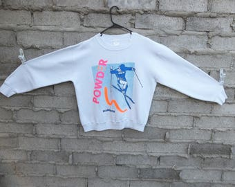 Vintage Sweatshirt 1990s 80s Ski Mammoth Fresh Prince Sports Athletic Neon Skater Surfer Medium