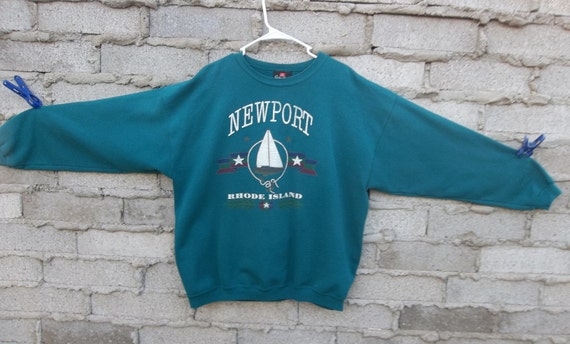 Vintage Sweatshirt 1990s 80s New Port Rhode Island Sports Pullover Fresh Prince Cosby Era Sail Boat Logo Distressed Large Unisex Chill Comfy