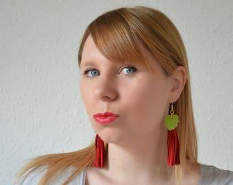 Ethnic tassel earrings, tassel red earrings, Fringe earrings, Leather long earrings, Tassel colorful earrings, Leather gift for daughter