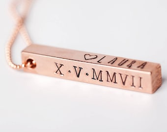 Custom 3D Bar Pendant Necklace - Copper Stamped Pendant - Copper Necklace - Custom Necklace - Coordinates Name Date Necklace