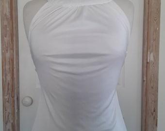 Vintage 70s / White Maxi Dress / Long White Dress / Vintage Dress / Spaghetti Straps/ Jersey Polyester/ Bernshaw England / Size Small
