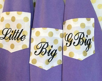 Big Little Sorority Comfort Colors Short Sleeve T Shirt / Custom fabric Pocket / monogram / bridal party