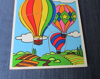 Vintage Wood Puzzle Playskool Hot Air Balloon Up up and Away