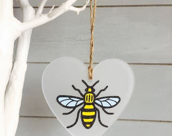 Manchester Worker Bee Heart Hanging Frosted Gift Home Decor Office Colleague