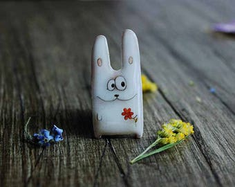 Happy Easter bunny Animal pin animal jewelry Bunny jewelry  Clay animal clay bunny  Bunny with flower