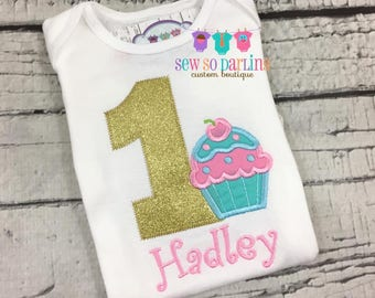 Pink Gold aqua Birthday Girl Cupcake Outfit - Girl Cupcake Birthday Outfit - Cupcake Birthday Shirt- 1st Birthday Outfit - ANY AGE  2nd 3rd