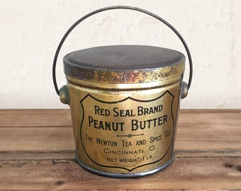 Vintage Peanut Butter Tin, Red Seal Brand Peanut Butter Pail 1 LB / Advertising Tin, General Store Tin, Food Can, Primitive Rustic Container