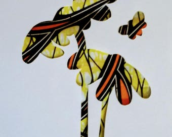 Flowers and a bee silhouette in yellow and orange African print fabric, cut paper art - living room art