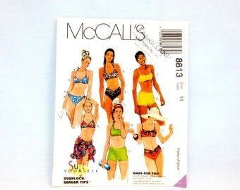 McCalls 8813 Misses Two Piece Bikini Swimsuit Top & Bottom Variations Sarong Size 14 Bra Cups A/B or C/D Uncut Bathing Suit Beachwear 1997