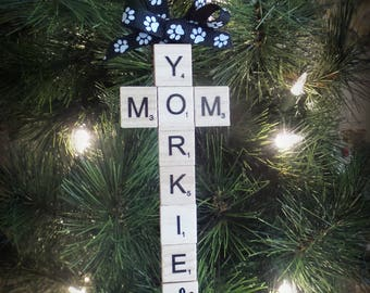 Yorkie Christmas Ornament - Gift for Yorkie Mom - Dog Themed Gift - Gifts Under 10 Dollars - Dog Mom Present - Yorkie Xmas - Yorkie Gift