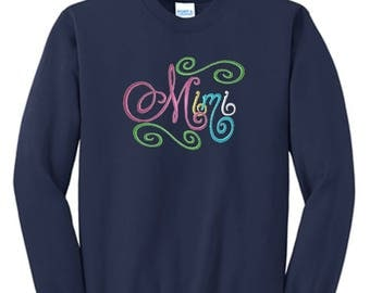 Mimi Gift with Multi-Colored Elegant Script Embroidery on Navy Blue Shirt.  Mimi Gift for Christmas, Mother's Day or Pregnancy Announcement