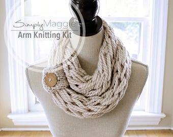 Knitting Kit // Arm Knitting Kit // Chunky Scarf // Infinity Scarf // Button Cuff // DIY Kit // Simply Maggie