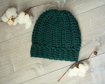 Forest Green Ribbed Cap