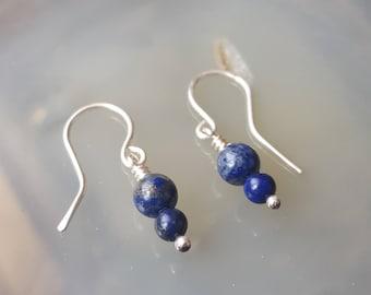 Lapis Earrings, Lapis Lazuli Earrings, Lapis Jewelry, Lapis Lazuli Jewelry, Sterling Silver Earrings, Sterling Silver Earrings Dangles, Wire