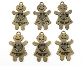 6 friends charms bronze tone 39mm #CH 304