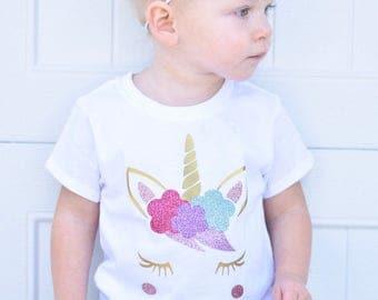 Girls unicorn Shirt, Unicorn Shirt, Unicorn birthday Shirt, Toddler Girl, Baby Girl, Birthday Shirt, youth size unicorn shirt