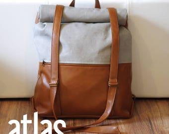 Swoon Patterns: Atlas Rucksack - PDF Rolltop Backpack Mens Sewing Pattern