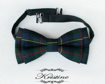 Boy's english tartan wool bow tie. Boy's bowtie red yellow plaid green wool bleumarine dark blue
