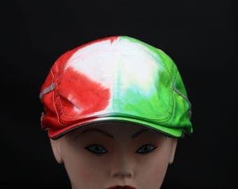 Tie Dye Italian Mexico Flat Driving Samuel L Jackson Hat, Flag Vacation Ivy Cap