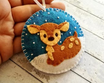PRE ORDER / Christmas decoration, Felt Christmas ornaments, Baby deer ornament, Fawn reindeer, Snowing tree Xmas ornaments, Holiday Decor