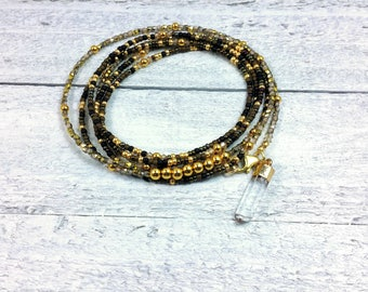 Seed Bead Wrap Bracelet — Long Necklace — Gold Beaded Bracelet — Gold Bead Wrap Bracelet — Gold Warp Bracelet — Green and Gold Bracelet
